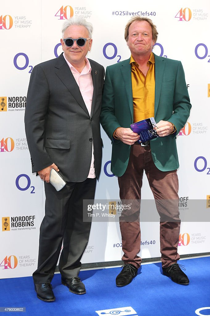 Trevor Horn and Mark King attend the Nordoff Robbins 02 Silver clef Awards at The Grosvenor House Hotel on July 3, 2015 in London, England.