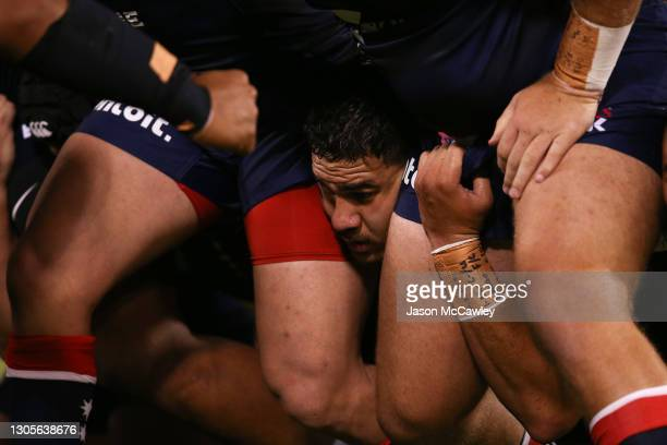 Trevor Hosea of the Melbourne Rebels packs into a scrum during the round three Super RugbyAU match between the Melbourne Rebels and the Brumbies at...