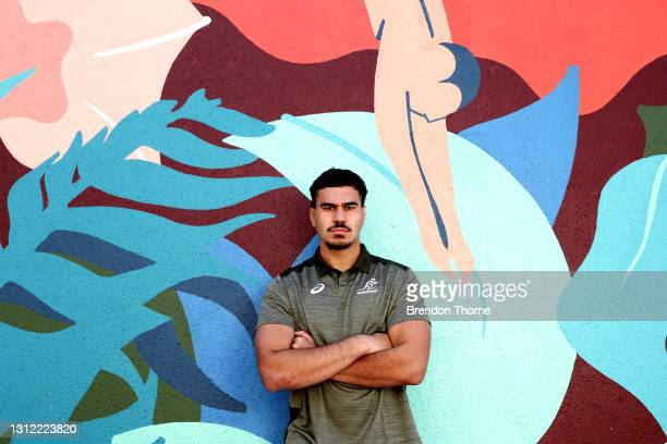 Trevor Hosea of the Wallabies poses for a portrait during an Australian Wallabies media opportunity at Crowne Plaza Coogee on April 13, 2021 in...