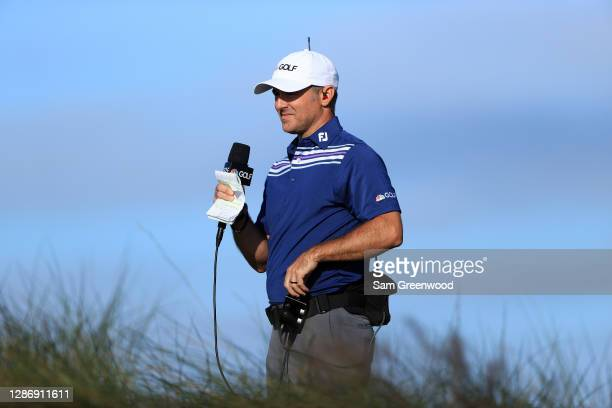 Trevor Immelman calls the action for the Golf Channel/NBC Sports during the third round of The RSM Classic at the Seaside Course at Sea Island Golf...