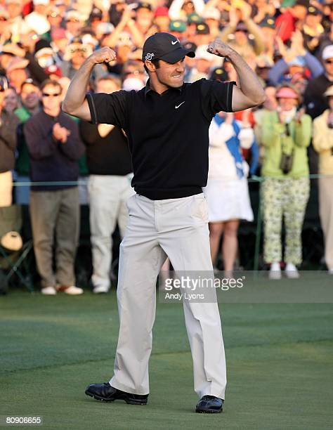 Trevor Immelman of South Africa celebrates winning the 2008 Masters Tournament at Augusta National Golf Club on April 13 2008 in Augusta Georgia