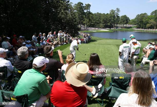 Trevor Immelman of South Africa hits a tee shot during the Par 3 Contest at the 2008 Masters Tournament at Augusta National Golf Club on April 9 2008...