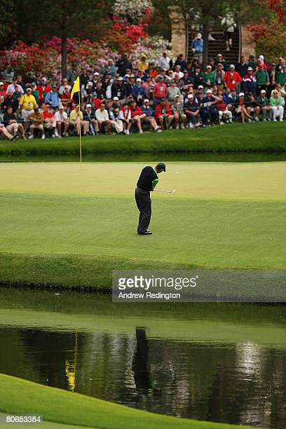 Trevor Immelman of South Africa pitches to the 15th green during the third round of the 2008 Masters Tournament at Augusta National Golf Club on...