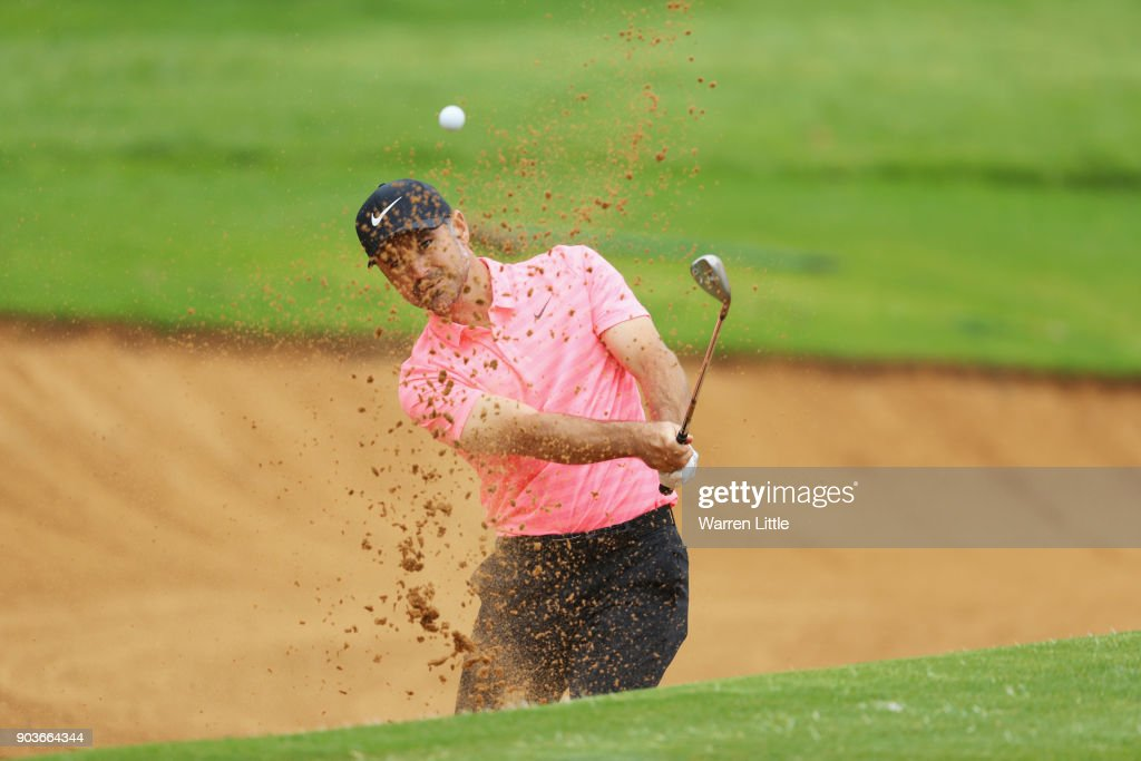 Trevor Immelman of South Africa plays from a bunker on the 17th hole during Day One of The BMW South African Open Championship at Glendower Golf Club on January 11, 2018 in Johannesburg, South Africa.