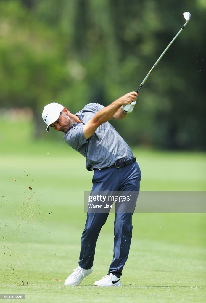 Trevor Immelman of South Africa plays his second shot on the 7th hole during day two of the BMW South African Open Championship at Glendower Golf Club on January 12, 2018 in Johannesburg, South Africa.