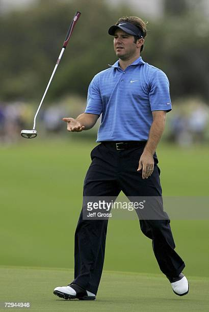 Trevor Immelman of South Africa reacts to a missed birdie putt on the 13th hole during the final round of the Mercedes Championship on January 7,...
