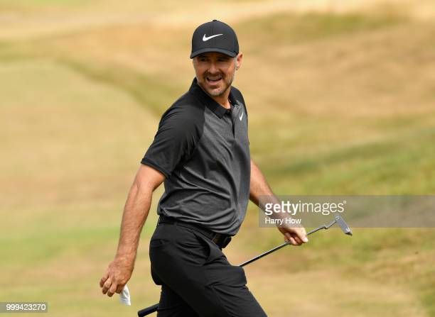 Trevor Immelman of South Africa reacts to his birdie putt on hole one during day four of the Aberdeen Standard Investments Scottish Open at Gullane...