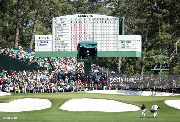 Trevor Immelman of South Africa walks to the green on the 7th hole during the final round of the 2008 Masters Tournament at Augusta National Golf...