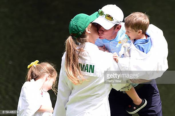 Trevor Immelman of South Africa wife Carminita and their children attend the Par 3 Contest prior to the start of the 2016 Masters Tournament at...