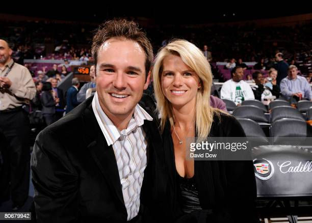 Trevor Immelman the 2008 Masters Winner and his wife Carminita at the New York Knicks game against the Boston Celtics on April 14 2008 at Madison...