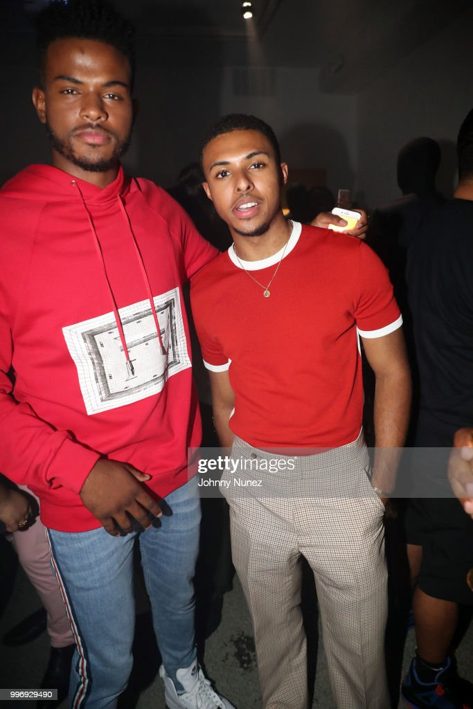 Trevor Jackson (L) and Diggy Simmons attend the Public School - Presentation - July 2018 New York City Men's Fashion Week on July 11, 2018 in New York City.
