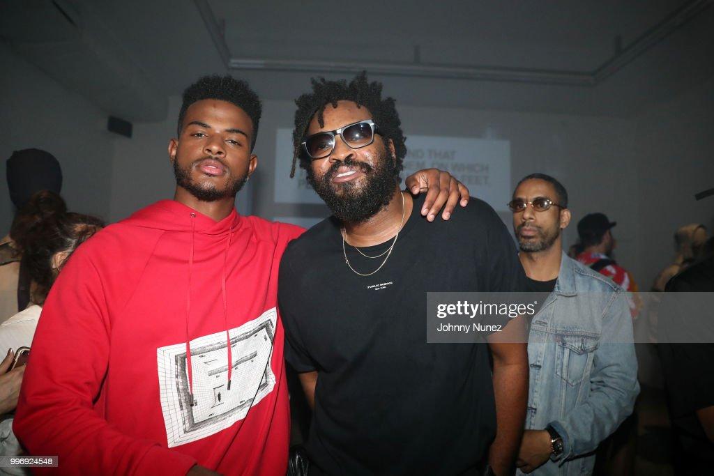 Trevor Jackson (L) and Public School co-Founder Maxwell Osborne attend the Public School - Presentation - July 2018 New York City Men's Fashion Week on July 11, 2018 in New York City.