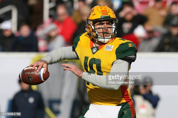 Trevor Knight of Arizona Hotshots looks to pass against the Salt Lake Stallions during their Alliance of American Football game at Rice Eccles...
