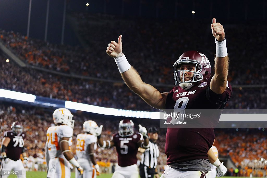 Trevor Knight #8 of the Texas A&M Aggies celebrates after scoring a touchdown in the second overtime of their game against the Tennessee Volunteers at Kyle Field on October 8, 2016 in College Station, Texas.