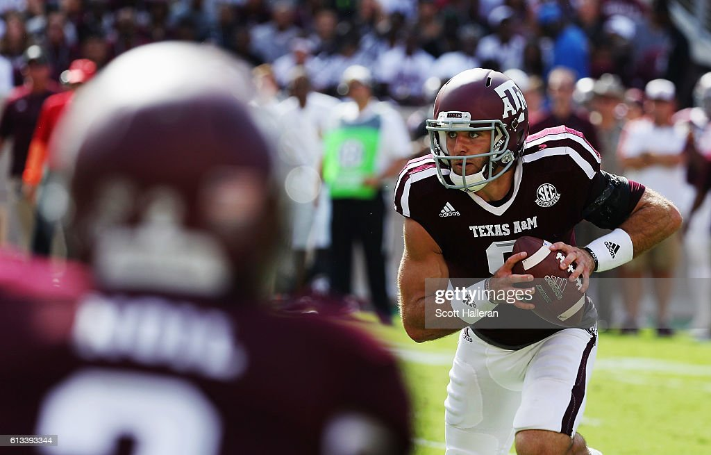 Trevor Knight #8 of the Texas A&M Aggies runs for a 7 yard touchdown in the first half of their game against the Tennessee Volunteers at Kyle Field on October 8, 2016 in College Station, Texas.