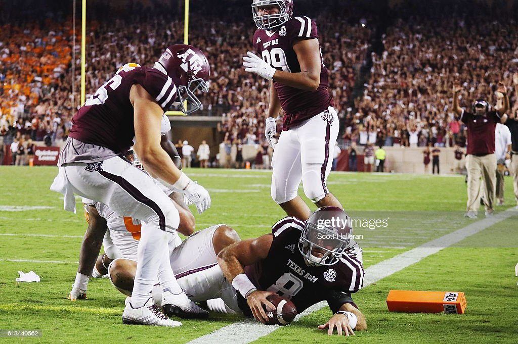 Trevor Knight #8 of the Texas A&M Aggies scores a touchdown in the second overtime of their game against the Tennessee Volunteers at Kyle Field on October 8, 2016 in College Station, Texas.