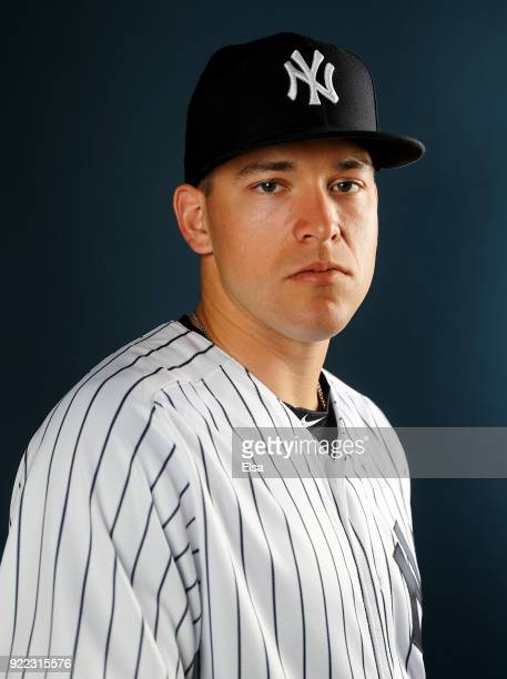 Trevor Lane of the New York Yankees poses for a portrait during the New York Yankees photo day on February 21 2018 at George M Steinbrenner Field in...