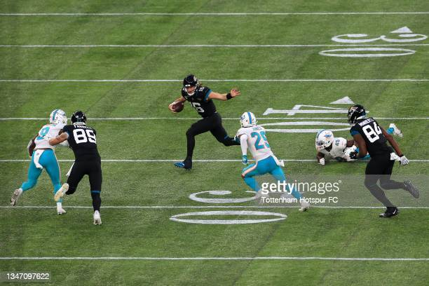 Trevor Lawrence of Jacksonville Jaguars during the NFL London 2021 match between Miami Dolphins and Jacksonville Jaguars at Tottenham Hotspur Stadium...