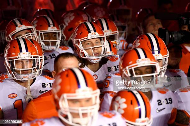 Trevor Lawrence of the Clemson Tigers prepares to take the field against the Alabama Crimson Tide during the College Football Playoff National...