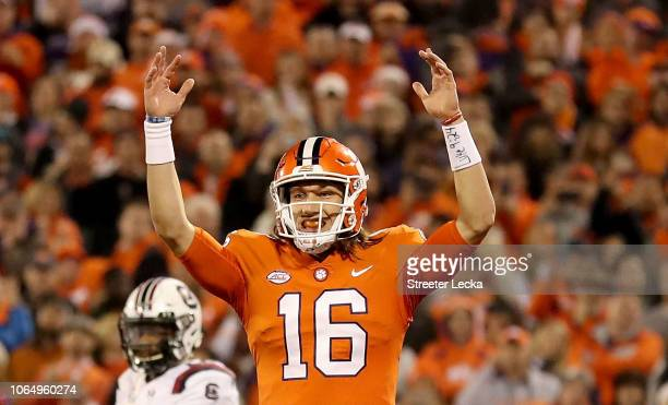 Trevor Lawrence of the Clemson Tigers reacts after a play against the South Carolina Gamecocks during their game at Clemson Memorial Stadium on...