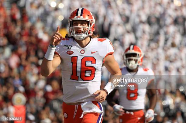 Trevor Lawrence of the Clemson Tigers reacts after a touchdown against the South Carolina Gamecocks during their game at Williams-Brice Stadium on...