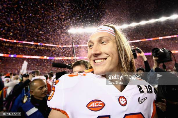 Trevor Lawrence of the Clemson Tigers reacts after his teams 44-16 win over the Alabama Crimson Tide in the CFP National Championship presented by...
