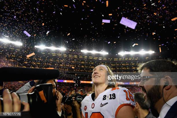 Trevor Lawrence of the Clemson Tigers reacts after his teams 4416 win over the Alabama Crimson Tide in the CFP National Championship presented by ATT...