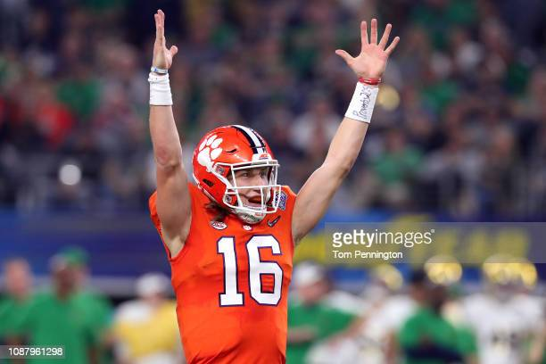 Trevor Lawrence of the Clemson Tigers reacts after throwing a 19 yard touchdown pass in the second quarter against the Notre Dame Fighting Irish...
