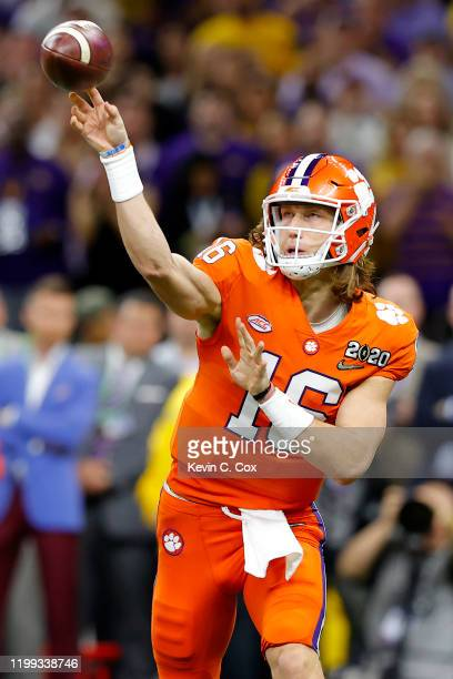 Trevor Lawrence of the Clemson Tigers throws a pass against the LSU Tigers during the first quarter in the College Football Playoff National...