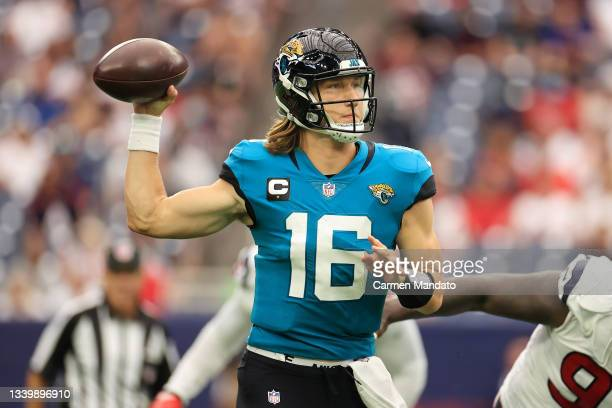 Trevor Lawrence of the Jacksonville Jaguars throws a pass during the second half against the Houston Texans at NRG Stadium on September 12, 2021 in...