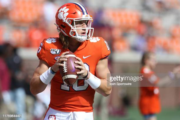 Trevor Lawrence quarterback of Clemson during a college football game between Florida State Seminoles and the Clemson Tigers on October 12 at Clemson...
