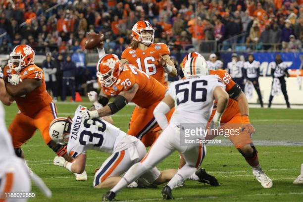Trevor Lawrence quarterback of Clemson during the ACC football championship game between the Virginia Cavaliers and the Clemson Tigers on December 7...