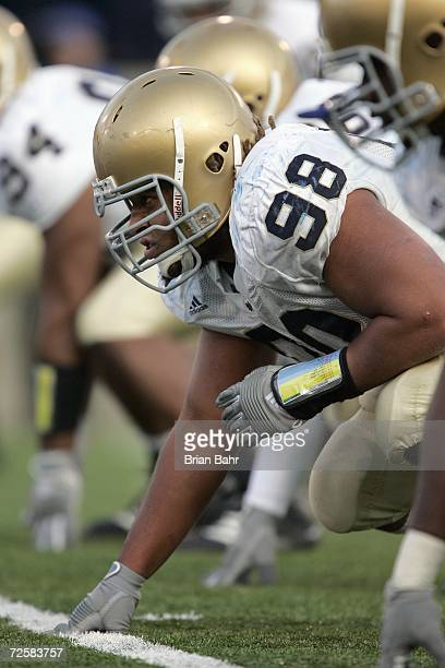 Trevor Laws of the Notre Dame Fighting Irish readies on the line during the game against the Air Force Falcons on November 11 2006 at Falcon Stadium...