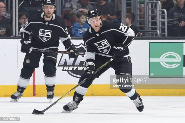 Trevor Lewis of the Los Angeles Kings handles the puck during a game against the San Jose Sharks at STAPLES Center on January 15 2018 in Los Angeles...