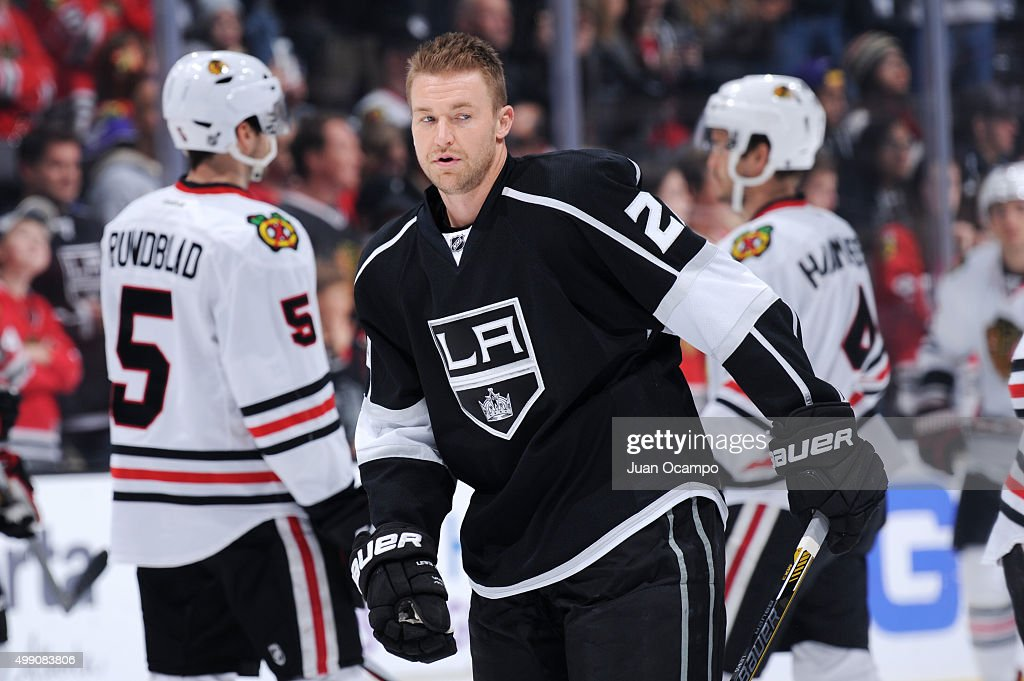 Trevor Lewis #22 of the Los Angeles Kings looks on before a game against the Chicago Blackhawks at STAPLES Center on November 28, 2015 in Los Angeles, California.