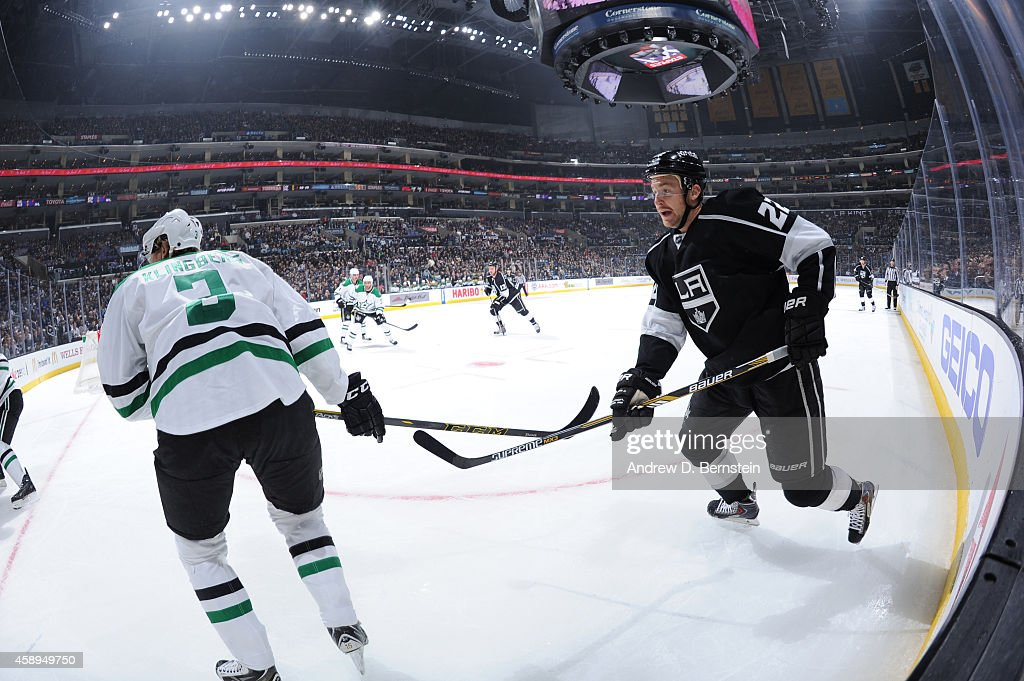 Trevor Lewis #22 of the Los Angeles Kings looks on during a game against the Dallas Stars at STAPLES Center on November 13, 2014 in Los Angeles, California.