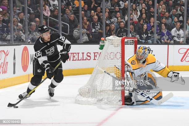 Trevor Lewis of the Los Angeles Kings looks to shoot the puck against Pekka Rinne of the Nashville Predators at STAPLES Center on January 6 2018 in...