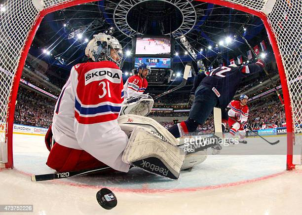 Trevor Lewis of USA celebrates after scoring his team's second goal past goaltender Ondrej Pavelec of Czech Republic during the 2015 IIHF Ice Hockey...
