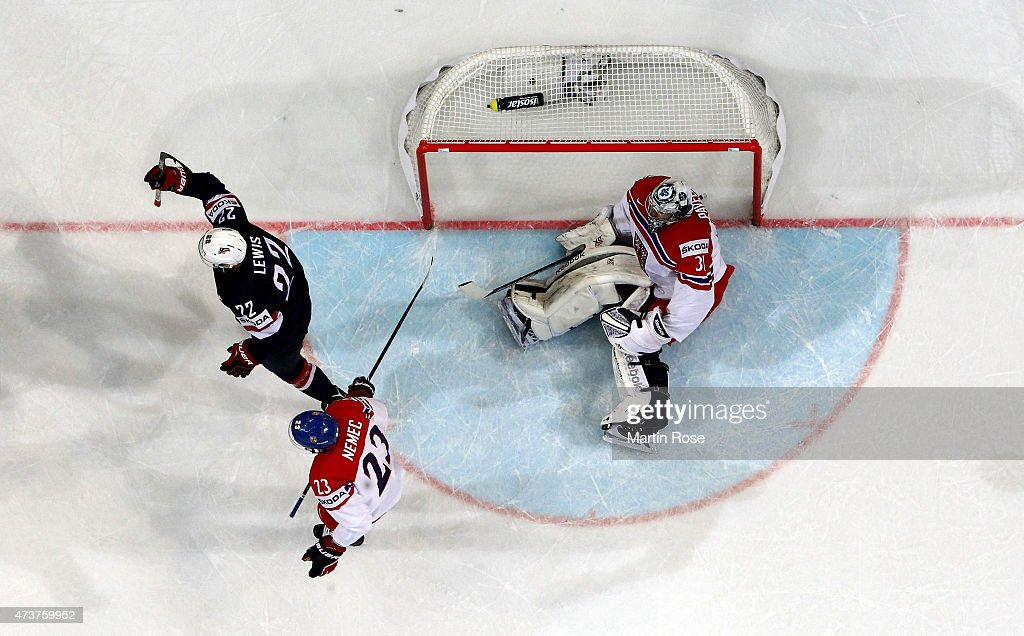 Trevor Lewis #22 of USA celebrates after scoring the 2nd goal during the IIHF World Championship bronze medal match between Crech Republic and USA at O2 Arena on May 17, 2015 in Prague, Czech Republic.