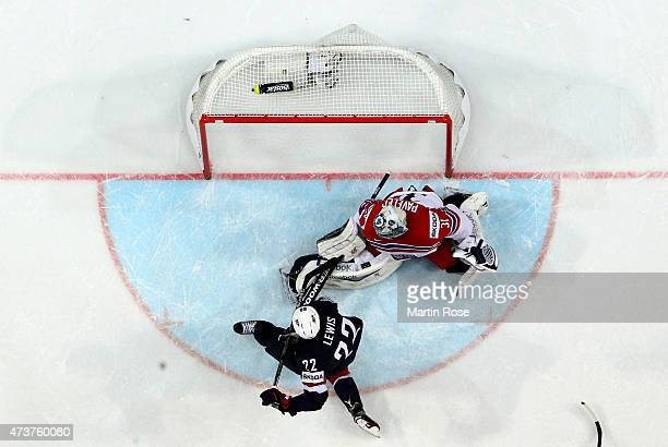 Trevor Lewis of USA is scoring the 2nd goal during the IIHF World Championship bronze medal match between Crech Republic and USA at O2 Arena on May...
