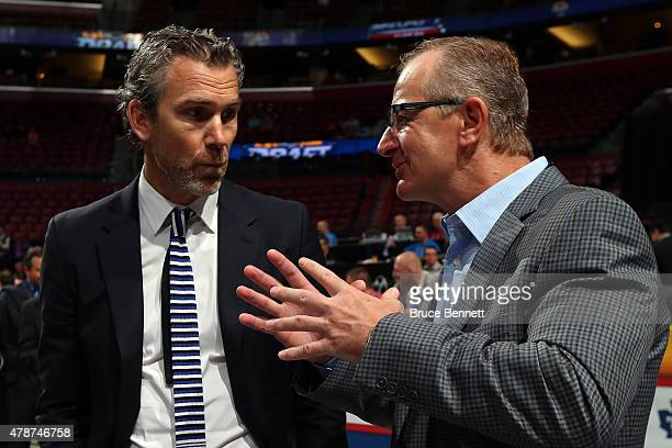 Trevor Linden and Al MacInnis of the St Louis Blues talk prior to the 2015 NHL Draft at BBT Center on June 27 2015 in Sunrise Florida