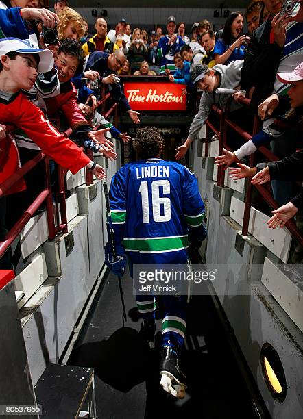 Trevor Linden of the Vancouver Canucks walks off the ice after the warmup before their game against the Calgary Flames at General Motors Place on...
