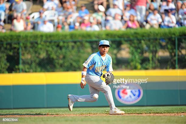 Trevor Ling of the Waipio Little League team fields during the World Series Championship game against the Matamoros Little League team at Lamade...