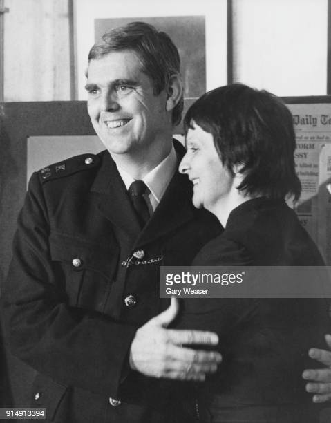 PC Trevor Lock gives a press conference at Scotland Yard in London with his wife Doreen after the Iranian Embassy siege 6th May 1980 Lock was...
