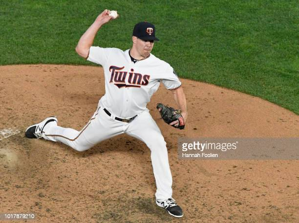 Trevor May of the Minnesota Twins delivers a pitch against the Detroit Tigers during the fifth inning of the game on August 16 2018 at Target Field...