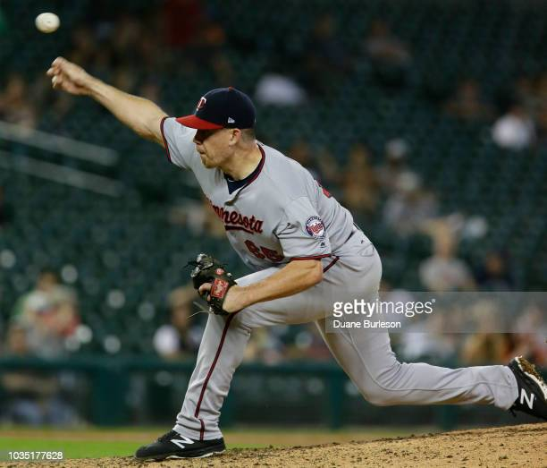 Trevor May of the Minnesota Twins pitches against the Detroit Tigers during the ninth inning at Comerica Park on September 17 2018 in Detroit Michigan