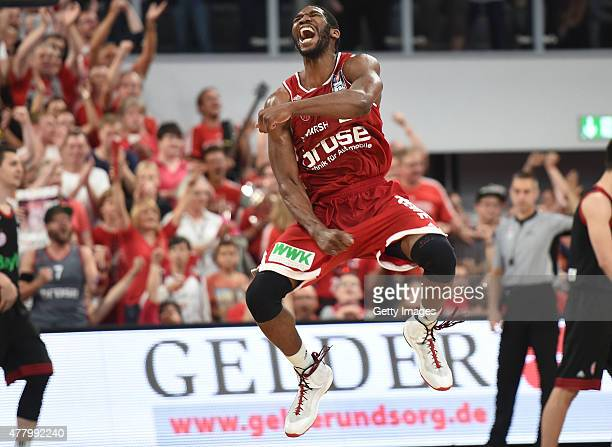 Trevor Mbakwe of Brose Baskets Bamberg celebrates during Game Five of the 2015 BBL Finals at Brose Arena on June 21 2015 in Bamberg Germany