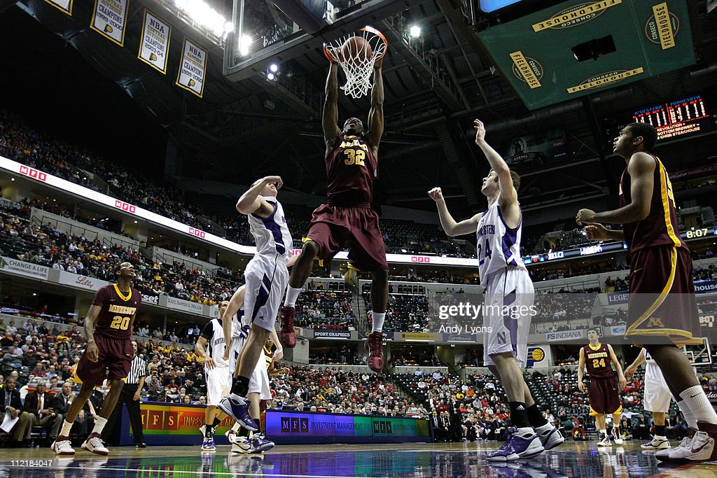 Trevor Mbakwe #32 of the Minnesota Golden Gophers dunks against the Northwestern Wildcats during the first round of the 2011 Big Ten Men's Basketball Tournament at Conseco Fieldhouse on March 10, 2011 in Indianapolis, Indiana. Northwestern won 75-65.