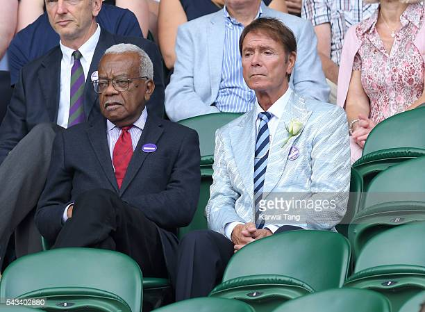 Trevor McDonald and Cliff Richard attend day two of the Wimbledon Tennis Championships at Wimbledon on June 28 2016 in London England