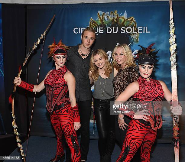 Trevor Moretz, actress Chloe Grace Moretz, and Terri Moretz attend the Atlanta premiere night of Cirque Du Soleil Amaluna at Atlantic Station on...